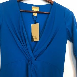 NWT Royal Blue Fitted Wrap Mini Dress